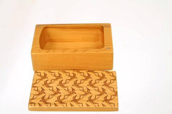 Wooden Storage Box, SB5, Solid Cherry -Laser Engraved Op Art,  Paul Szewc, Masterpiece Gallery