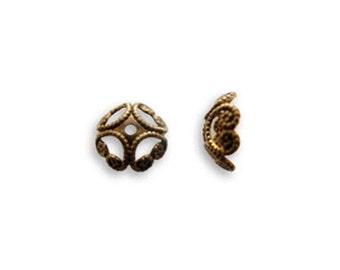 6 pcs Vintaj Natural Brass Etruscan Bead Cap Natural Brass Jewelry Findings Craft Supplies Tools