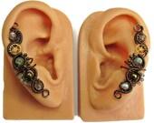 Labradorite & Bronze Steampunk Ear Cuffs - Steampunk Jewelry