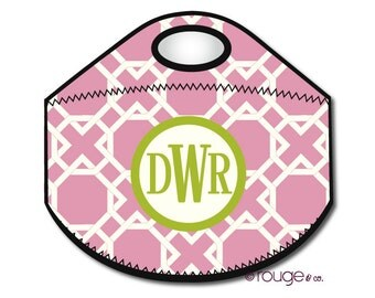 LATTICE monogrammed lunch tote - with customizable pattern and monogram