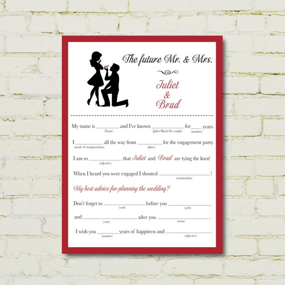 ENGAGEMENT party mad libs Proposal edition PDF – Party Proposal
