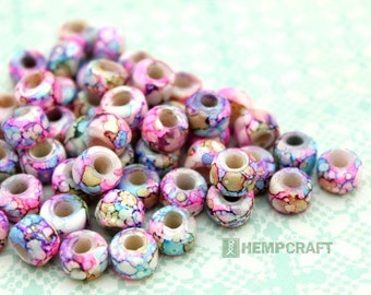 Crow Glass Beads, 9mm Pink Colorful Painted Glass