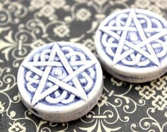2pc Pentagram Beads, Glazed Ceramic Round Pentagram Disc Beads, 30mm