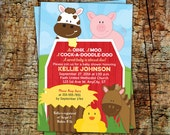 Farm Baby Shower Invitations: Birthday Invitations -- Free customization -- 5x7 Printed cards