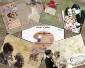 Vintage LOVERS POSTCARDS Tags printable 468 roses flowers weddings showers Collage crafts, scrapbooking, cards Instant download printable