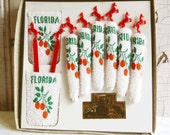 Vintage Florida Coasters and Swizzle Stick Set - Mid-Century Souvenir Gift Box 1960s - Unused and Mint Condition - Red Horses and Oranges