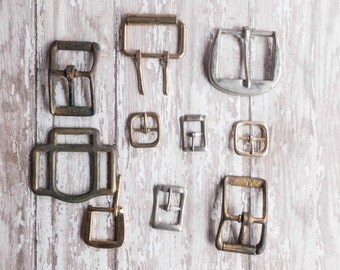 Assortment of Old Metal Belt Buckles Instant Collection Notion Supply Rustic