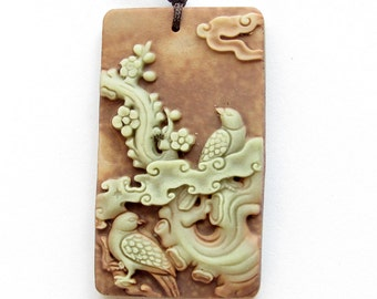 Rectangle Carved Bird Flower Tree Two Layer Natural Stone Charm Pendant 52mm*32mm  ZP067