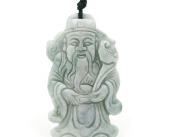 Natural Jadeite Jade Carved Happy Lucky Celestial Being RU-YI Amulet Pendant 46mm*28mm  Cy114