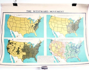 Two Sided Antique School Map - Colonial Land Grants & Westward Movement