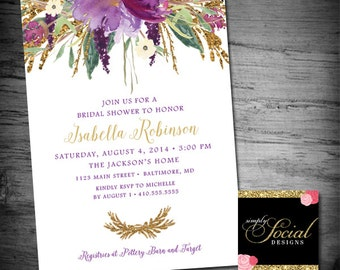Glitter Glam Sparkling Amethyst Purple Watercolor Flowers Bridal Shower Invitation Printable