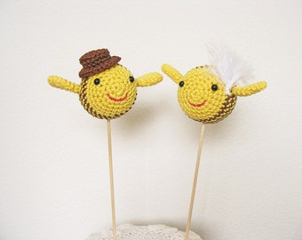 Bee Cake Topper, Yellow Wedding Cake Topper, Funny Wedding Cake Decor