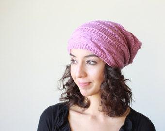 Lilac Slouch hat, Slouch knit hat for women, Beanie Hat, Cable knit hat, knit hat women, Slouch beanie women trendy