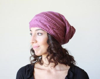 Dry Rose Slouch hat women, Slouch knit hat for women, Rose Beanie Hat, Oversized hat, Rose knit hat women, Slouchy hat