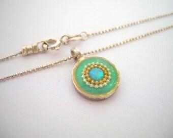 Mint Opal pendant Sterling silver opal pendant, Sparkly Mint opal pendant, Round opal pendant, Blue green opal silver pendant Opal jewelry