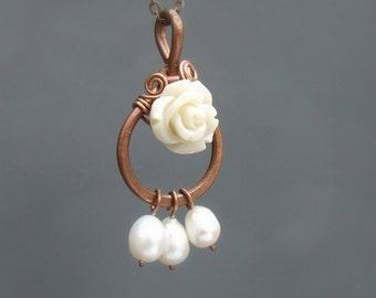 Romantic rose necklace, botanical flower copper pendant, cream white resin rose and pearl jewelry