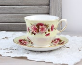 Queen Anne Teacup & Saucer, Shabby Roses