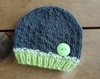 Baby Hat, Newborn Hat, Baby Beanie, Beanies, in Grey and Green with Green Button Photo Prop Infant Newborn