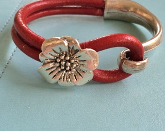 Red Leather and Silver Bracelet