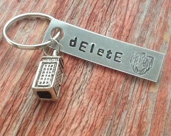 """Dr Who inspired Cyberman """"Delete"""" hand stamped keychain with a small tardis charm"""