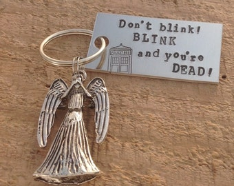 """Hand stamped """"don't blink"""" Doctor Who inspired keychain with Weeping Angel charm"""