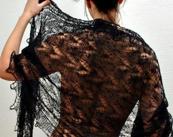 WOOL Lace Shawl ,CROCHETED Russian Handmade Goat Wool Neck Scarf Balck Warm Winter Neckwear