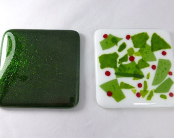 Christmas Holly Fused Glass Coasters  - set of two