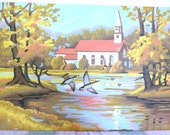 Pair of  Church and Swans or Geese Paint by Number Oil Paintings 10x14 each