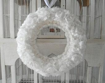 white floral wreath wedding wreath nursery decor bedroom decor romantic wreath floral wreath victorian wreath cottage chic shabby decor