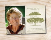 Oak Tree, Tree of Life Photo Sympathy, Memorial, Funeral Thank You Notecards - Printable File