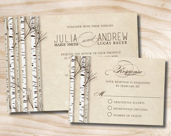 Rustic Birch Tree Wedding Invitation and Response Card - 100 Professionally Printed Invitations & Response Cards