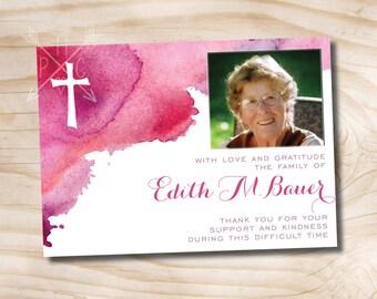 Watercolor Cross Modern Photo Sympathy, Memorial, Funeral Thank You Notecards - Printable digital file or printed invitations