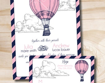 Fly Away Hot Air Balloon Wedding Invitation and Response Card RSVP Invitation Suite