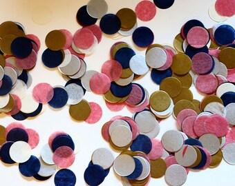 "Tissue Confetti - Navy Gold Pink Confetti - 1"" Circle Confetti - Paper Confetti - Balloon Confetti -  Navy Pink Gold"