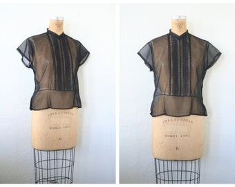 sheer black 30s blouse - 40s ladies peplum top / Hollywood Glamour - vintage 1930s / short sleeve
