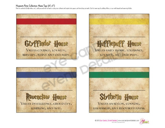Harry Potter Inspired Hogwarts PRINTABLE NAME TAGS - Birthday invitations harry potter printable