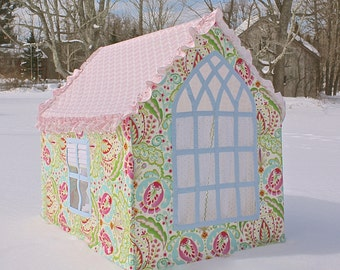 "THE ""SOPHIE"" custom playhouse with designer fabrics, door in the rear, roman shades with gothic window dotted swiss curtains"