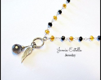 Smoky Quartz, Amber and Black crystal Angel Wing Necklace