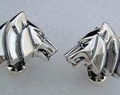 Wolf Cufflinks in Antiqued Sterling Silver