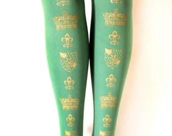 Crown Printed Tights Large Gold on Arsenic Green Antique Medieval Fleur De Lys Dolly Kei Lolita