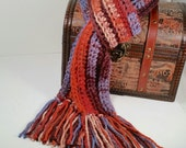 BEAUTIFUL winter scarf. Variegated colors called Mountain Majesty: rust, blue, browns, beige.  Fringe. Crochet. Muffler.