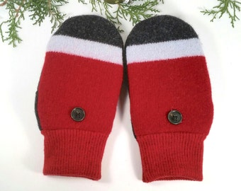 Warm, wool mittens for older kids, younger teens. Red, charcoal grey. Fleece lining.