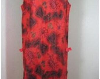 Vintage Royal Hawaiian Vintage Dark Red Hawaiian Dress Medium Sz. 6 7 8