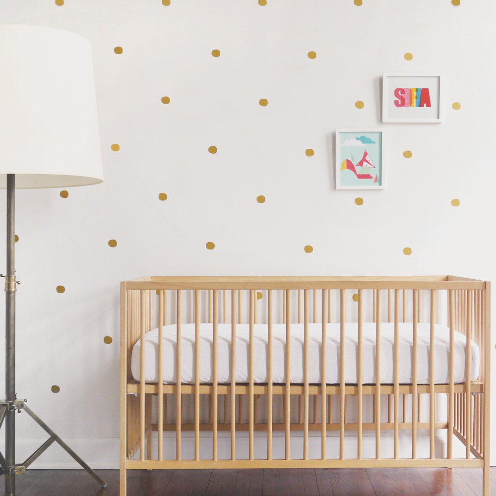 Gold wall decal vinyl wall decal 91 gold dots kids decor zoom amipublicfo Image collections