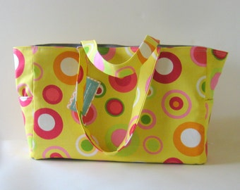 MADE TO ORDER Retro Bubbles Diaper Bag, School Bag, Work Bag, with Waterproof lining, Yellow/Gray