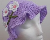 Hand Knitted Girls Hat with Ruffled Brim - Knitted All Weather Hat - Knitted Children Clothing - Girly Hat with Flowers- Emmie's Sun Hat