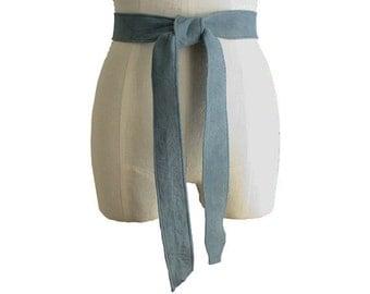 Classic suede belt - Basic belt - Stone Blue Suede - Leather Tie Belt - Soft Lambskin Leather belt -  Small Medium Large, in stock