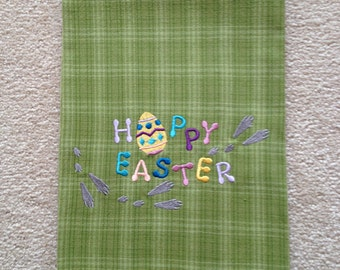 Easter Embroidered Towel  - Happy Easter Footprints