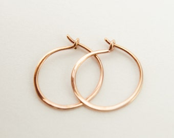 Hammered Rose Gold Hoops, Tiny Hoop Earrings, Classic Hoops, Rose Gold Plated Wire, Minimalist, Modern Jewelry, Gift, EAR002
