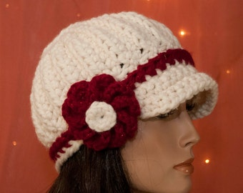 Contrast Newsboy Hat with Flower -  Cream - Red - Holiday - For Women - Pick Your Colors - Made to Order